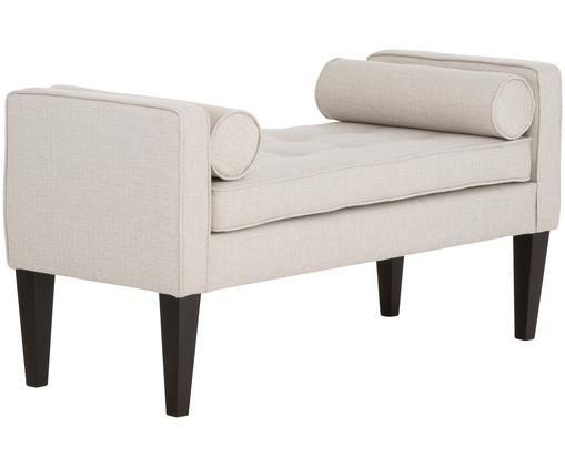 Ławka z poduszkami Mia, Tapicerka: 67% polipropylen, 33% pol, Nogi: drewno brzozowe, lakierow, Poszewka: beżowy, biały Nogi: czarny, S 115 x G 61 cm