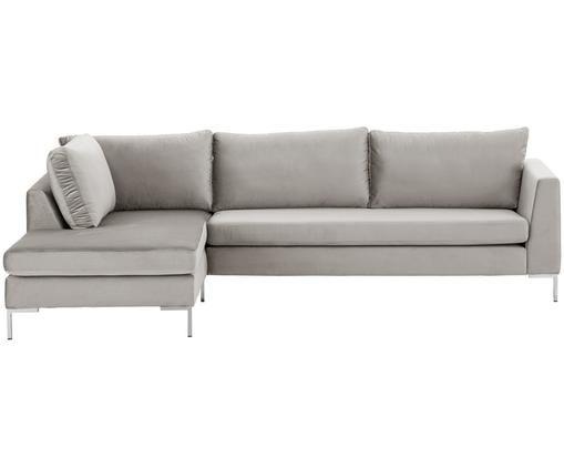 Sofa narożna z aksamitu Luna, Tapicerka: aksamit (100% poliester) , Stelaż: lite drewno bukowe, Nogi: metal galwanizowany, Aksamitny beżowy, srebrny, S 280 x G 184 cm