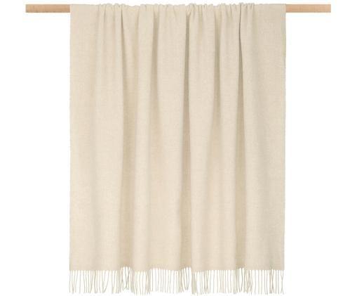 Plaid in lana leggero Patriciu con finitura a frange, Lana, Beige, Larg. 130 x Lung. 170 cm