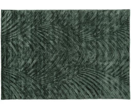 Alfombra artesanal de viscosa Bloom, Verde oscuro