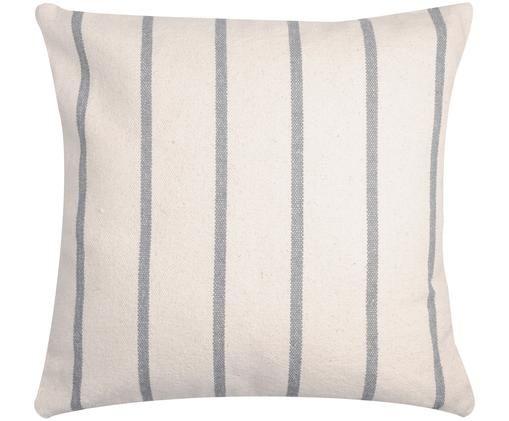 Cuscino a righe Pampelonne, con imbottitura, Rivestimento: cotone, Antracite, bianco latteo, Larg. 50 x Lung. 50 cm