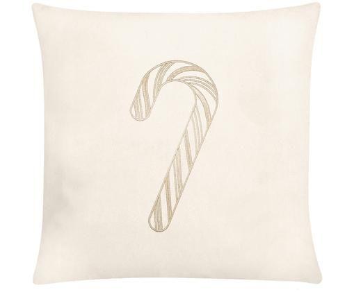 Federa natalizia in velluto ricamata Candy, Bianco crema