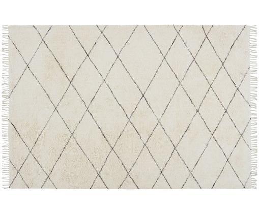 Tappeto in cotone Less, Cotone, Bianco latteo, nero, Larg. 200 x Lung. 300 cm