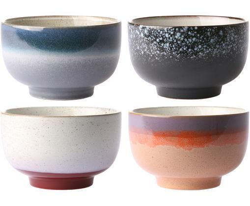 Handgemachtes Schälchen-Set 70's, 4-tlg., Keramik, Mehrfarbig, Ø 14 x H 8 cm
