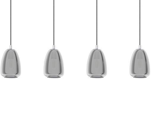 Lampada a sospensione Alobrase, Paralume: vetro, Baldacchino: metallo cromato, Cromo, Larg. 108 x Alt. 30 cm