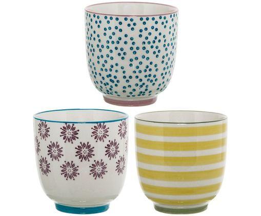 Ensemble de mugs Patrizia, 3élém., Blanc, bleu, rouge, jaune
