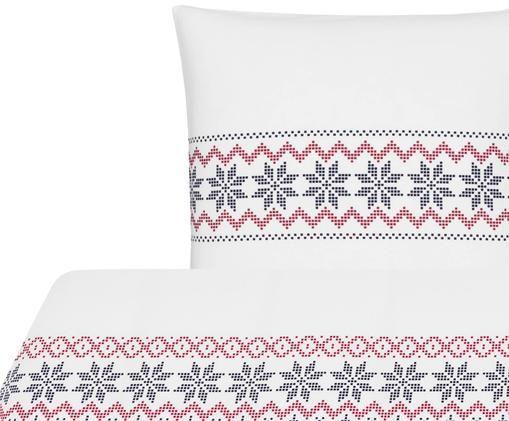 Flanell-Bettwäsche Finja mit Muster, Weiß, Dunkelblau, Rot