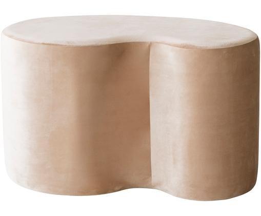 Puf z aksamitu Cloe, Poliester, Beżowy, S 80 x G 50 cm