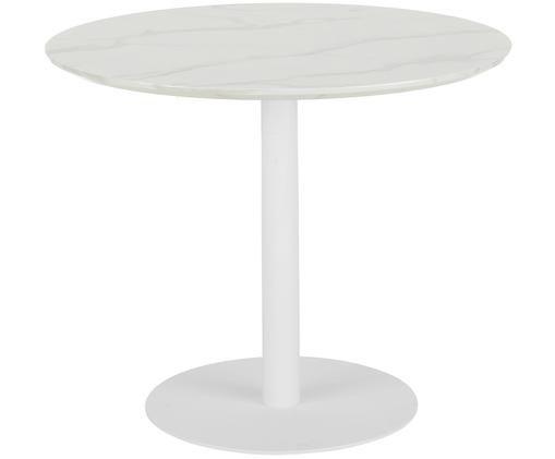 Tavolo da pranzo Karla in aspetto di marmo, Piano d'appoggio: bianco marmorizzato Tavolino da salotto: bianco opaco
