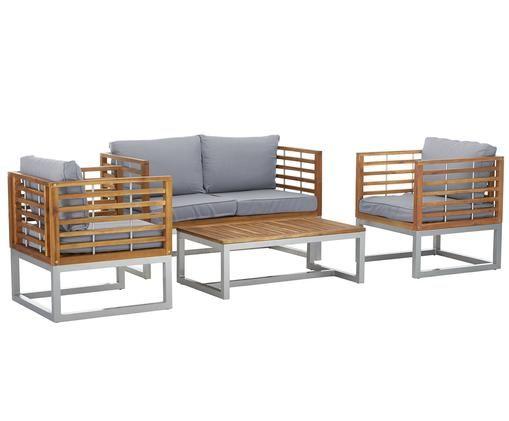 Outdoor-Lounge-Set Bo, 4-tlg., Hellgrau