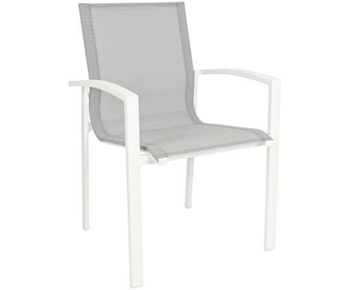 Stapelbarer Garten-Armlehnstuhl Atlantic, Gestell: Aluminium, pulverbeschich, Sitzfläche: Textil, Weiß, Hellgrau, B 60 x T 66 cm