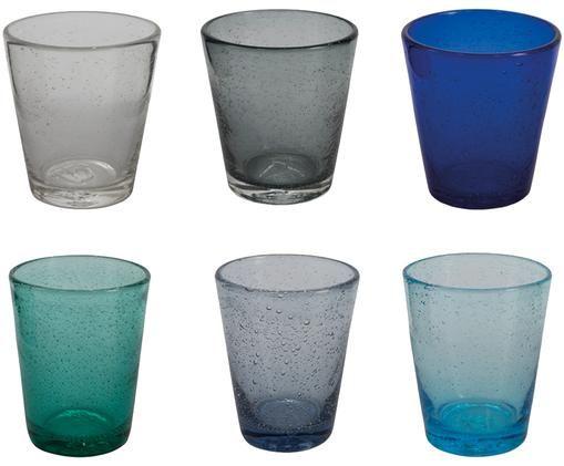 Wassergläser-Set Baita in Blautönen und mit Lufteinschlüssen, 6er-Set, Glas, Blau- und Grautöne, transparent, Ø 9 x H 10 cm
