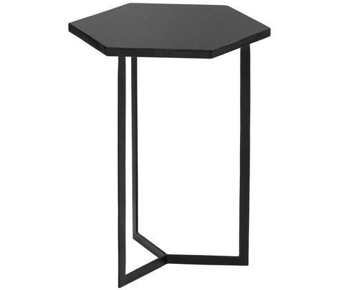 Tavolino in granito Vince, Piano d'appoggio: granito nero Struttura: nero opaco