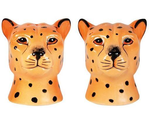 Salz- und Pfefferstreuer Leopard, 2er-Set, Keramik, Orange, Schwarz, 6 x 7 cm