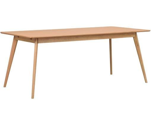 Tavolo da pranzo in design scandi Yumi, Piano d'appoggio: pannello di fibra a media, Gambe: albero della gomma massic, Legno di quercia, Larg. 190 x Prof. 90 cm