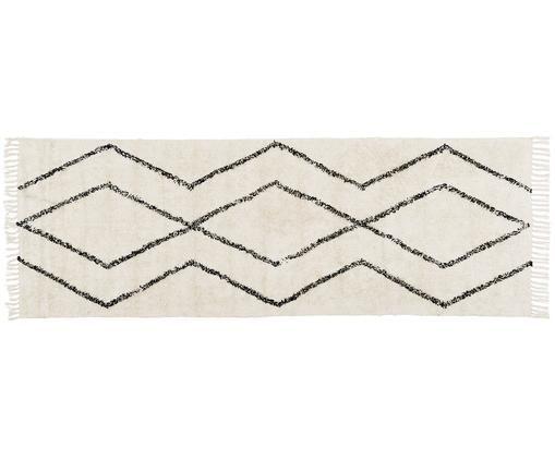 Ręcznie tuftowany dywan Bina, Beżowy, czarny, S 80 x D 250 cm