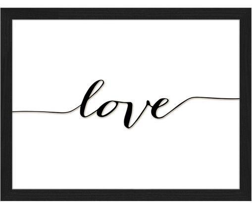 Oprawiony druk cyfrowy Love, Czarny, biały