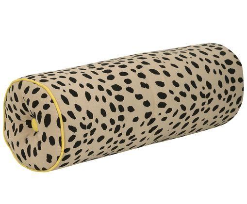 Poduszka wałek z wypełnieniem Leopard, Poduszka wałek: beżowy, czarny Wykończenie brzegów: żółty