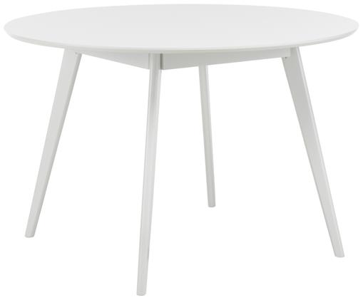 Tavolo da pranzo rotondo in legno Yumi, Piano d'appoggio: pannello di fibra a media, Gambe: caucciù massiccio e verni, Bianco, Ø 115 cm