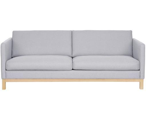 Sofa Lian (3-Sitzer), Bezug: Polyester 35.000 Scheuert, Gestell: Massives Kiefernholz, Hellgrau, B 209 x T 89 cm