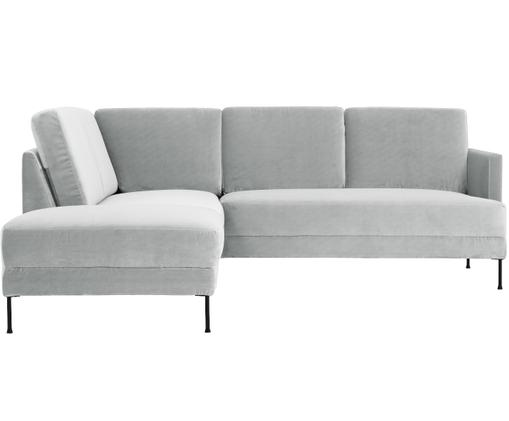 Canapé d'angle en velours Fluente, Velours gris clair