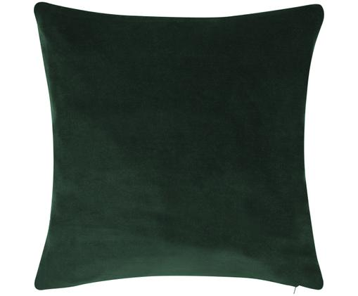 Einfarbige Samt-Kissenhülle Alyson in Smaragdgrün, Baumwollsamt, Smaragdgrün, 50 x 50 cm