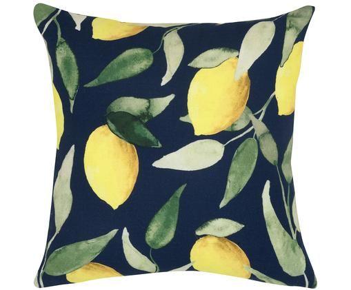 Kissenhülle Citrona, Baumwolle, Dunkelblau, Gelb, Grün, 40 x 40 cm