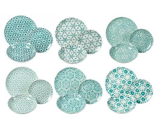 Set 18 piatti per 6 persone Bodrum, Porcellana, Turchese, bianco, Diverse dimensioni