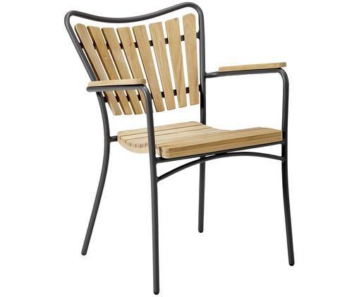Krzesło ogrodowe z drewna z podłokietnikami Hard & Ellen, Stelaż: aluminium malowane proszk, Antracytowy, drewno tekowe, S 56 x W 78 cm