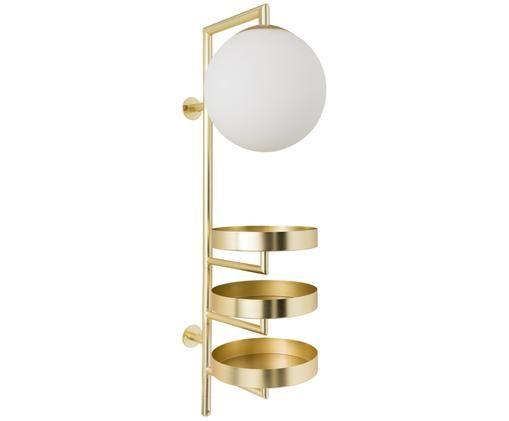 Wandleuchte Cal mit Stecker, Gestell: Messing, Lampenschirm: Opalglas, Messing, 30 x 62 cm
