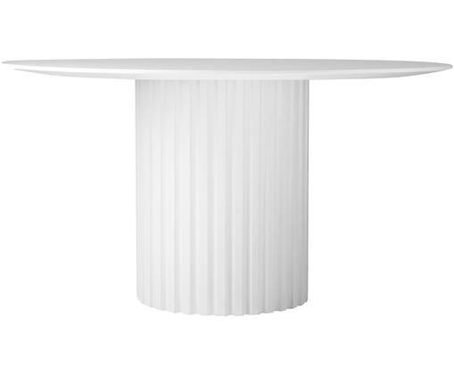 Tavolo da pranzo rotondo Pillar, Legno di Sungkai, pannelli di fibra a media densità (MDF), Bianco, Ø 140 x Alt. 75 cm