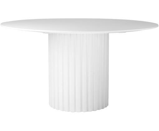 Tavolo da pranzo rotondo bianco  Pillar, Legno di Sungkai, pannelli di fibra a media densità (MDF), Bianco, Ø 140 x Alt. 75 cm