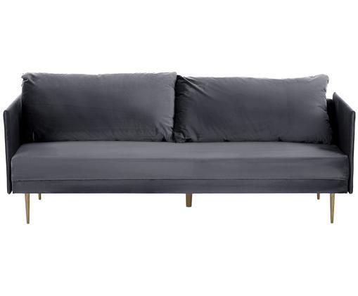 Samt-Schlafsofa Lauren, Bezug: Samt (Polyester) 28.000 S, Gestell: Kiefernholz, Füße: Metall, lackiert, Samt Grau, 206 x 87 cm
