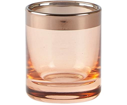 Portacandela Orient, Vetro, Portacandela: rosa, trasparente bordo: rame, Ø 6 x Alt. 7 cm