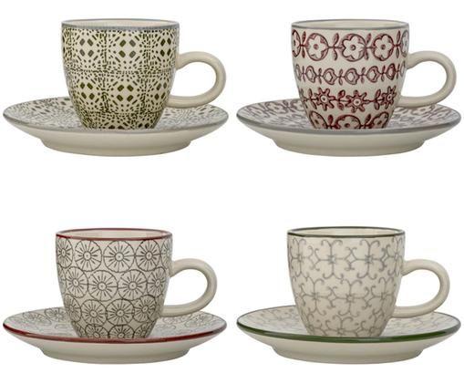 Espressotassen mit Untertassen Karine, 4 Stück, Steingut, Weiß, Grün, Rot, Grau, Ø 6 x H 6 cm