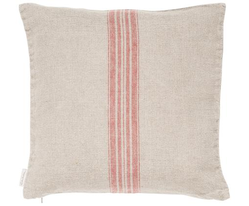 Beige Leinen-Kissenhülle Jara mit roten Streifen, Beige, Rot, 40 x 40 cm
