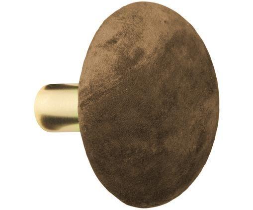 Colgador de terciopelo Helene, Fijación: metal, pintura en polvo, Latón, marrón, Ø 10 x F 8 cm