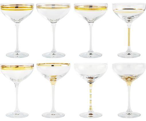 Champagnerschalen Deco mit Goldverzierungen, 8er-Set