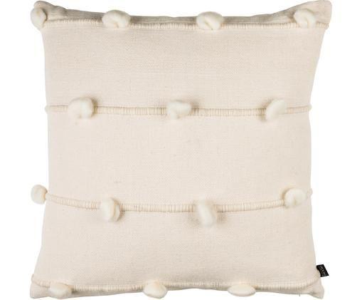 Funda de cojín Penny, 80% algodón, 20% lana, Blanco crema, An 50 x L 50 cm