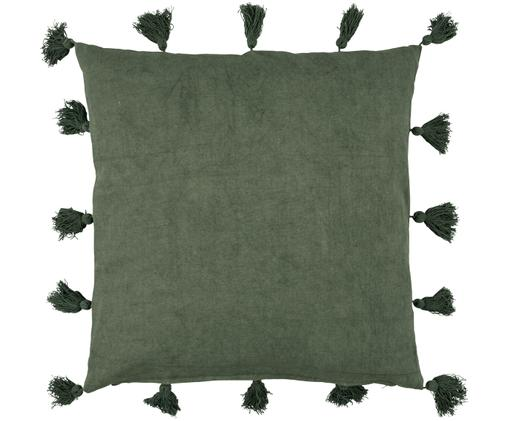 Cuscino con imbottitura e nappe Bonita, Rivestimento: cotone, Verde, Larg. 40 x Lung. 40 cm