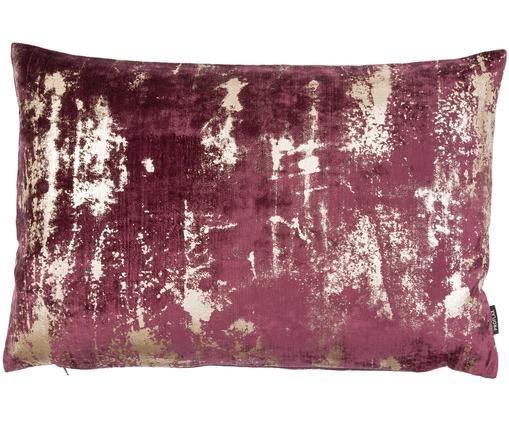 Federa arredo  in velluto Shiny con motivo vintage, Velluto di poliestere, Vino rosso, Larg. 40 x Lung. 60 cm
