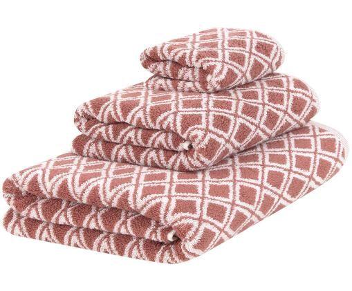 Wende-Handtuch-Set Ava mit grafischem Muster, 3-tlg., Terrakotta, Cremeweiß, Sondergrößen