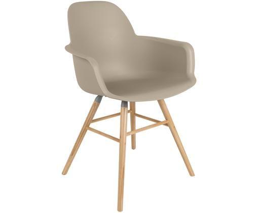 Sedia con braccioli  Albert Kuip, Seduta: 100% polipropilene, Piedini: legno di frassino, Seduta: taupe Piedini: legno di frassino, Larg. 59 x Alt. 82 cm