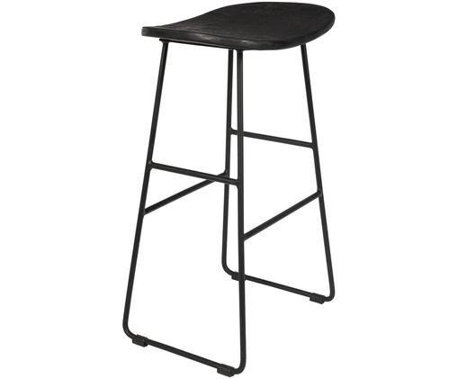 Sgabello alto nero Tangle, Seduta: legno di teak, riciclato , Gambe: metallo, verniciato a pol, Nero, Larg. 40 x Alt. 65 cm