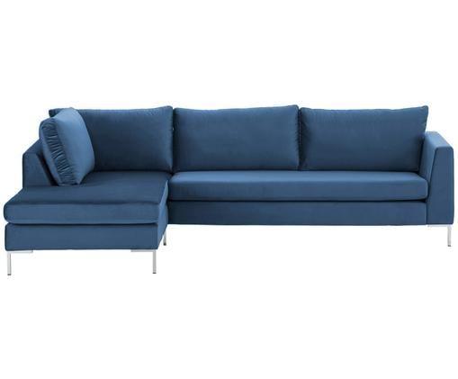 Fluwelen hoekbank Luna, Bekleding: fluweel (polyester), Frame: massief beukenhout, Poten: gegalvaniseerd metaal, Blauw, B 280 x D 184 cm