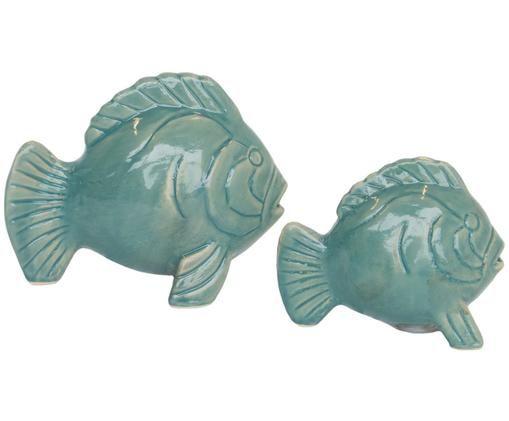Set salero y pimentero Lucky Fish, 2pzas., Porcelana, Verde, Ancho 11 x Alto 9 cm