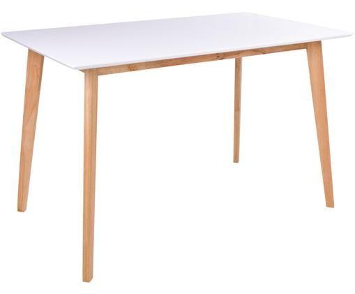 Tavolo da pranzo con piano bianco Vojens, Pannelli di fibra a media densità (MDF), caucciù, Bianco, marrone, Larg. 120 x Prof. 70 cm