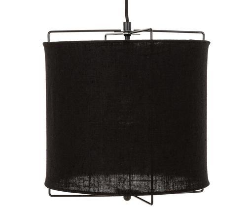 Lámpara de techo Clouds, Pantalla: lino, Cable: cubierto en tela, Negro, ∅ 30 x Al 30 cm