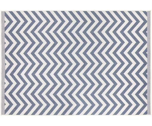 Dwustronny dywan wewnętrzny/zewnętrzny Palma, Niebieski, kremowy, S 200 x D 290 cm (Rozmiar L)