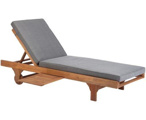 Lettino prendisole con tavolo allungabile Somerset, Legno di acacia oliato ®FSC certificata, Legno di acacia, Larg. 70 x Lung. 200 cm